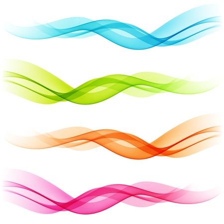 olas de mar: Vector Juego de colores Resumen l�neas curvas transparentes Vectores