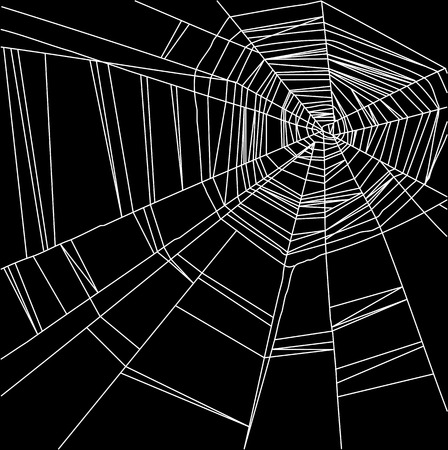 Vector white spider web isolated on the  black background Stok Fotoğraf - 36888817