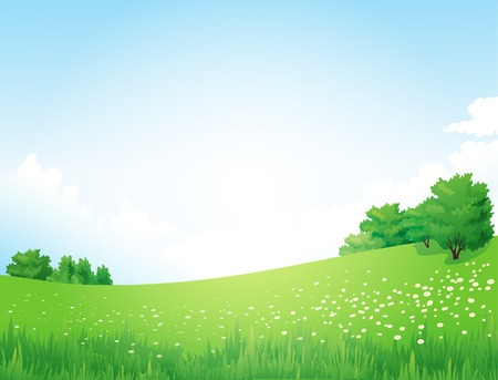 blue sky and fields: Vector Green Landscape with trees clouds flowers Illustration