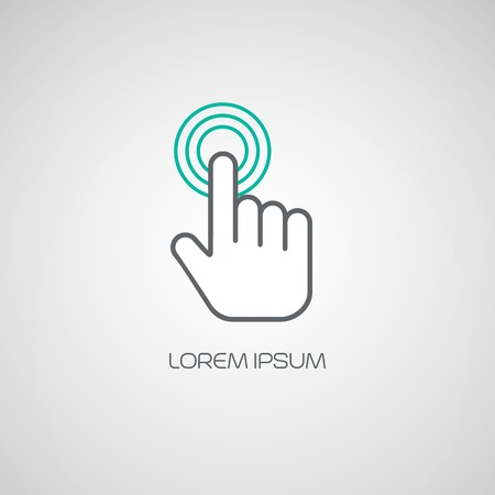 finger print: Hand click icon. Vector illustration  Illustration