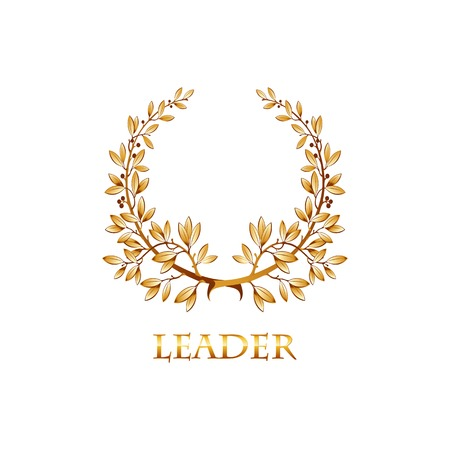 elite sport: Vector gold laurel wreath. Leaves pattern. EPS 10