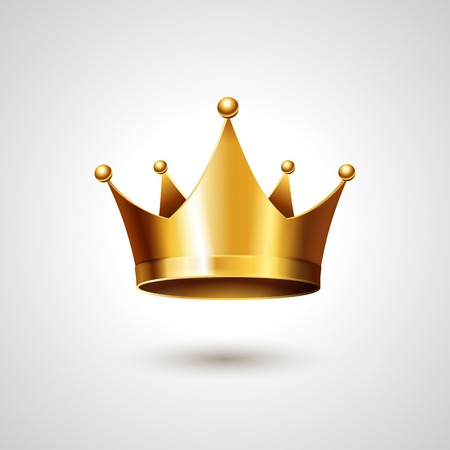 corona reina: Corona de Oro Aislado En Fondo Blanco. Ilustración vectorial Vectores