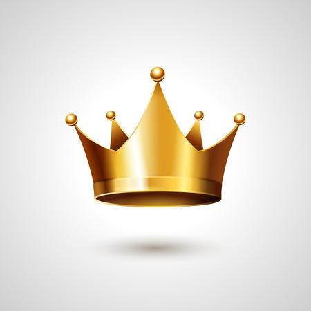 corona reina: Corona de Oro Aislado En Fondo Blanco. Ilustraci�n vectorial Vectores