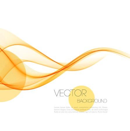 arte moderno: Vector Resumen de naranja L�neas curvas de humo de fondo. Dise�o de folletos Vectores