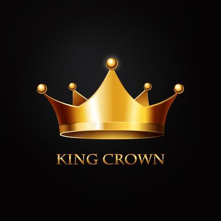 corona rey: Corona de oro sobre fondo negro. Ilustración vectorial