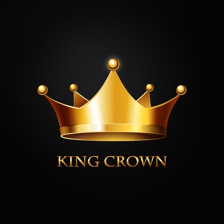Gold Crown on black  Background. Vector Illustration