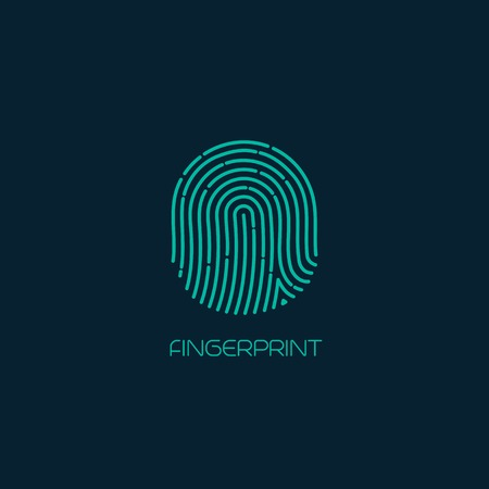 Fingerprint identification icon. Vector illustration