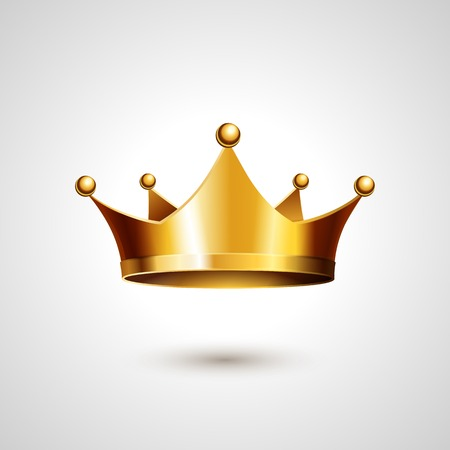 royal crown: Gold Crown Isolated On White Background. Vector Illustration
