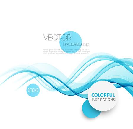 fumo blu: Vector Abstract fumo blu curve linee di fondo. Progettazione Brochure