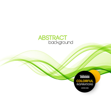 smooth shadow: Vector Abstract green curved lines background. Template brochure design. Smoke wave