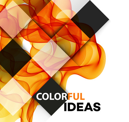smoky: Vector Abstract orange curved smoky lines background. Brochure design