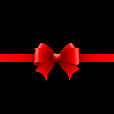 red ribbon bow: Vector Invitation card with red holiday ribbon and bow
