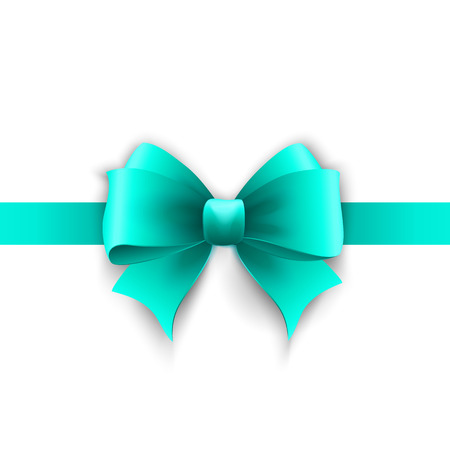 bow: Vector Invitation card with blue holiday ribbon and bow