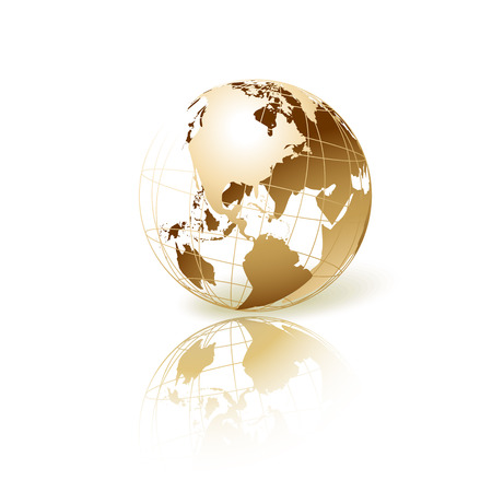 Golden transparent globe isolated in white background. Vector icon.