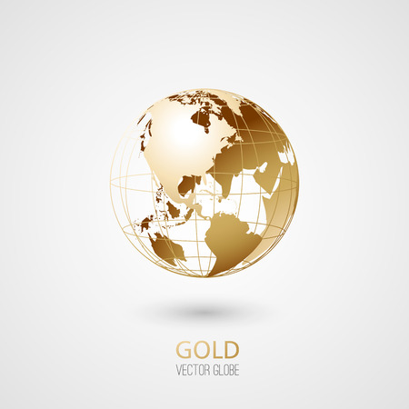 golden globe: Golden transparent globe isolated in white background. Vector icon.