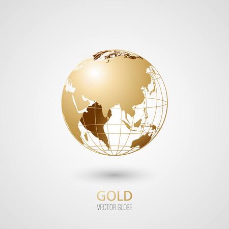 Gouden transparante bol geïsoleerd in een witte achtergrond. Vector pictogram.
