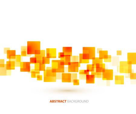 オレンジ色の正方形の形状のベクトルの抽象的な技術背景。モザイク バナー