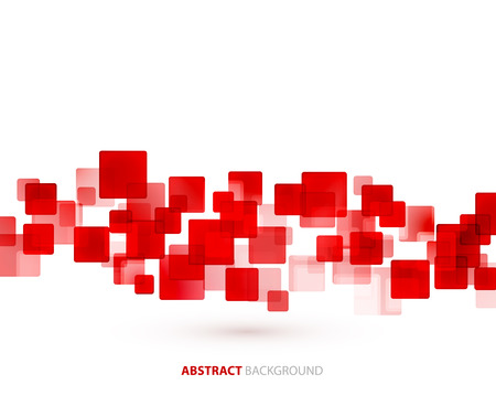 square: Red transparent squares shapes technical background. Vector technology design