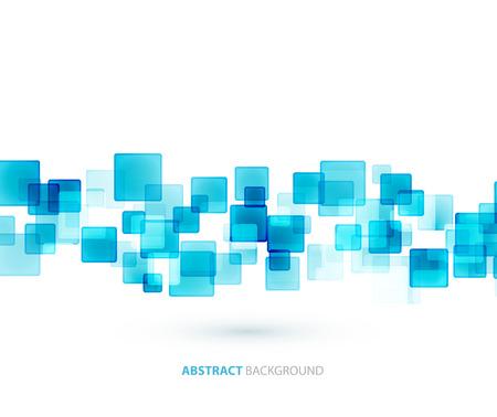블루 반짝이 사각형 기술적 배경을 형성한다. 벡터 기술 설계 일러스트