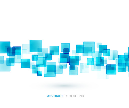 Blue shiny squares shapes technical background. Vector technology design
