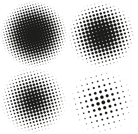 halftone pattern: Set of Abstract Halftone Design Elements. Vector illustration Illustration