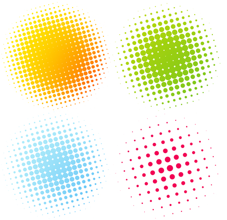 printing icon: Set of Abstract Halftone Design Elements. Vector illustration Illustration