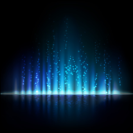 light and dark: Blue aurora light. Shiny Abstract vector backgrounds