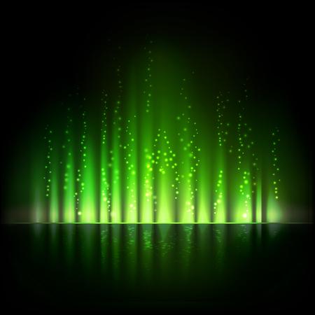 aurora: Green aurora light. Shiny Abstract vector backgrounds Illustration