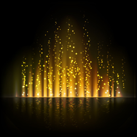 borealis: Gold aurora light. Shiny Abstract vector backgrounds Illustration