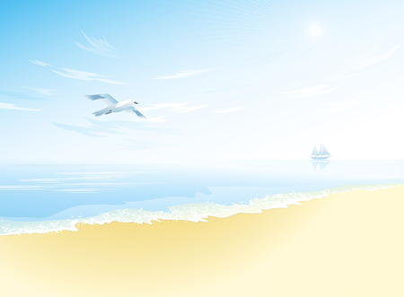 beach scene: Seascape with wavy sea surface,cloudy sky, flying seagull