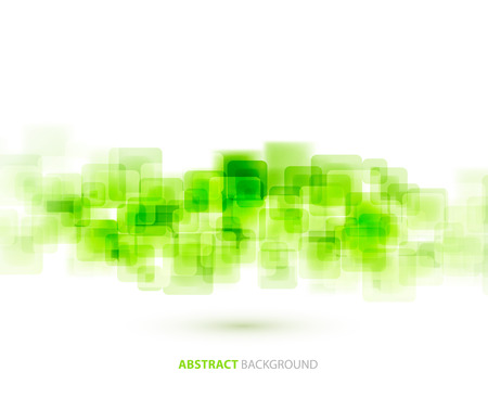 green banner: Green  shiny squares shapes technical background. Vector technology design