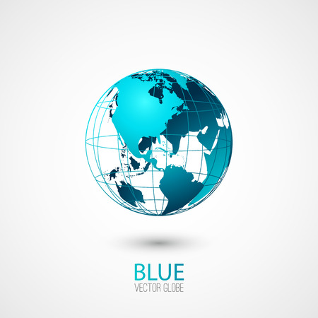 geography of europe: Blue transparent globe isolated in white background.