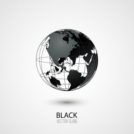 transparent globe: Black transparent globe isolated in white background. Vector icon. Illustration