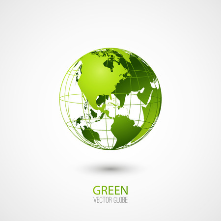 north: Green transparent globe isolated in white background.