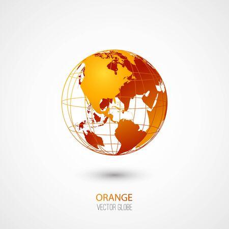 transparent globe: Orange transparent globe isolated in white background.  Illustration