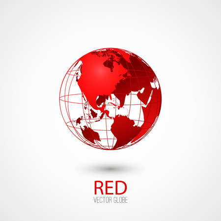 Red transparent globe isolated in white background.
