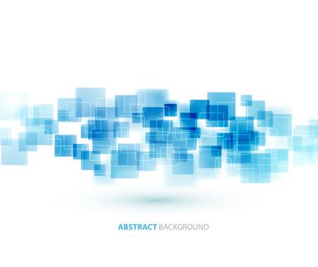 Blauwe glanzende vierkanten vormen technische achtergrond. Stock Illustratie