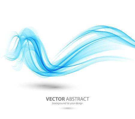 Abstract template Hintergrund mit blauen gekrümmten Wellen. Wellenlinien