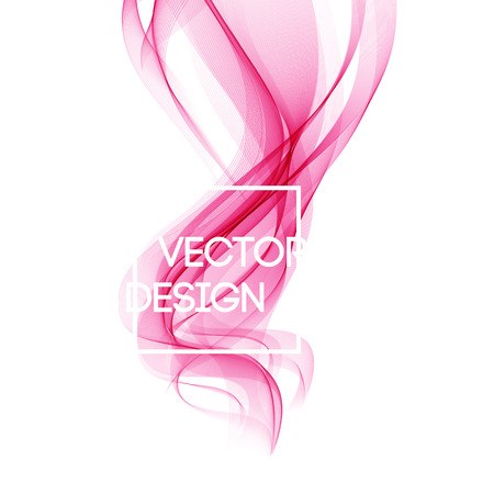 Abstract template background with pink curved wave. Wavy lines