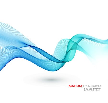 Abstract template background with blue curved wave. Wavy lines Vektorové ilustrace