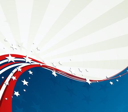 アメリカの国旗、独立記念日、記念日のためのベクトルの愛国的な背景  イラスト・ベクター素材