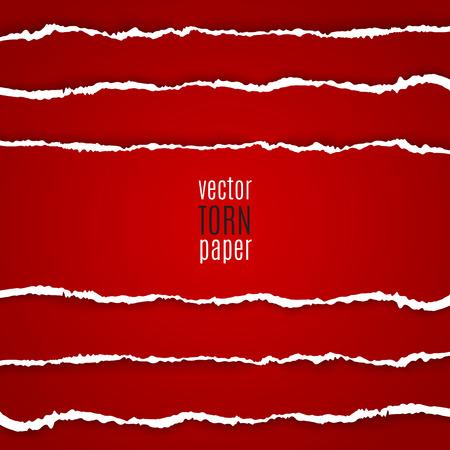 ベクトル図赤引き裂かれた紙。テンプレートの背景
