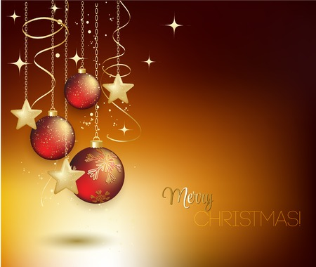 baubles: Merry Christmas card with red bauble . Vector illustration. Illustration