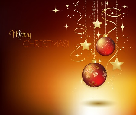 festive season: Merry Christmas card with red bauble . Vector illustration. Stock Photo