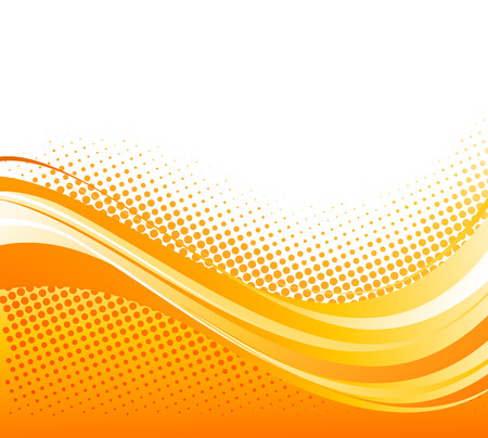Abstract orange color curved lines background with halftone.