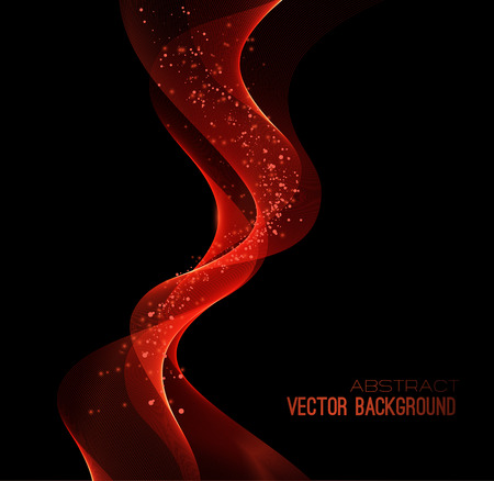 illustratie abstracte achtergrond met rode wazig magische neon licht gebogen lijnen Stock Illustratie