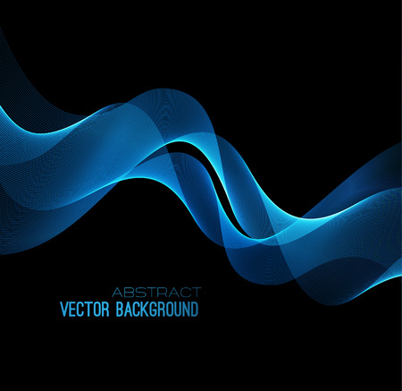 abstract black: illustration abstract background with blue  blurred magic neon light curved lines