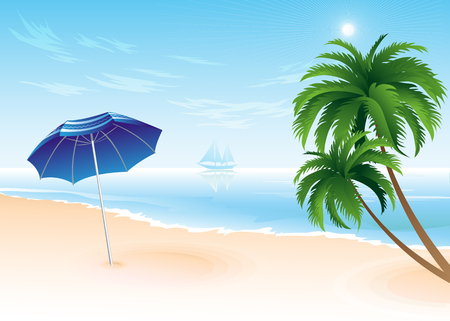 summer trees: Summer beach with palm trees illustration