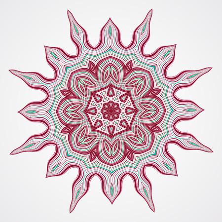 meditation isolated white: Abstract round ornament. Ethnic Fractal Mandala. Vector Circle Meditation Tattoo Illustration