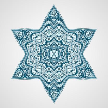 david star: Abstract round ornament. Ethnic Fractal Mandala. Vector Circle Meditation Tattoo. David star